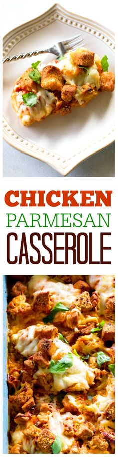 Chicken Parmesan Casserole - no frying this cheesy Parmesan chicken topped with crunchy garlic croutons. the-girl-who-ate-everything.com