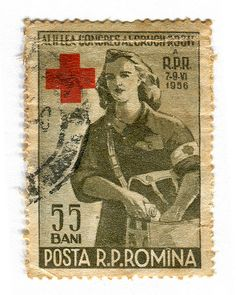 Vintage 1956 postage stamp collection- Romania Postage Stamp: Red Cross by karen horton, via Flickr