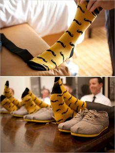 matching mustache groomsmen socks #mustache #groomsmen #socks www.weddingchicks.com/2013/12/13/classic-yellow-and-grey-wedding/