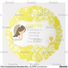 Shop First Communion African American Yellow Damask Balloon created by KPW_Invitations.