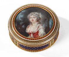 Bonbonnière en or, émail et miniature. Hanau XVIIIème siècle.