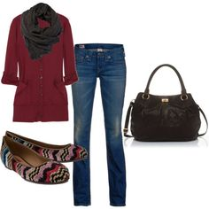 comfy fall outfit - finally something I would wear.  Okay, maybe not the skinny jeans!