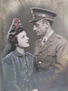 """""""Being royalty in this country didn't mean much. It meant even less in the Army. I was just another corporal,"""" he recalled with a smile 70 years later. Vintage Photographs, Vintage Images, Wedding Pics, Wedding Day, Wedding Dresses, Wedding Ceremony, Vintage Couples, Let Your Hair Down, Most Beautiful Beaches"""