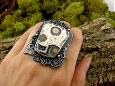 Ring | Tess Jordan. Oxidized sterling silver and bezel set cabochon.