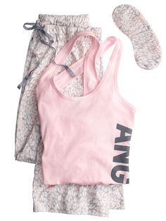 The Pillowtalk Tank Pajama - Victoria's Secret in ANGEL PINK/SNOW PANTHER - want!!!!!!!!!! Size XL regular.