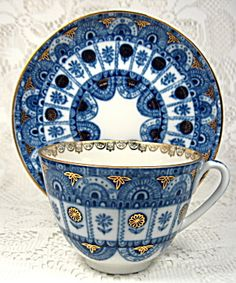 Lomonosov Russian Cup And Saucer Dark Blue Gold Lace. Click on the image for more information.