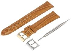 Artisan of Italy AITPD6000418MR Mens Dress Padded Matte Alligator 18mm Honey Watch Strap >>> To view further for this item, visit the image link.