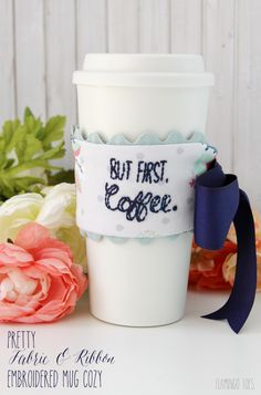 Pretty Fabric and Ribbon Embroidered Mug Cozy