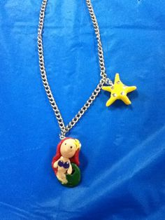 Little mermaid polymer clay necklace hand made