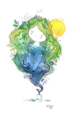 chaine1b watercolor Illustration~ By Cécile Hudrisier