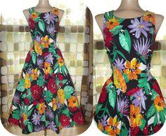 Vintage 80s 50s Bright Tropical Full Sweep Pin-Up Dress 9 S/M Hawaiian Sundress