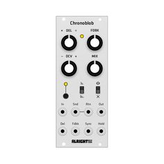 Unlike other delays, Chronoblob can sync to an external clock. Patch one to the SYNC input and choose a multiplier/divider for rhythmic delays. Or don't do that