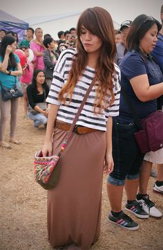 Monki Striped Cropped Top, Accessorize Boho Bag
