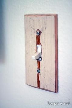 b. organic  Create your own customized switchplates and outlet covers by repurposing scraps of lumber.   tutorial