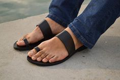 Greek Men Leather Sandals summer men shoes men flats