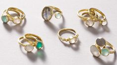 Selection of semi-precious stacking rings - now available at Oliver Bonas...