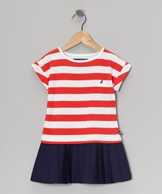 Take a look at this Bright Red Stripe Dress - Toddler by Nautica on #zulily today!
