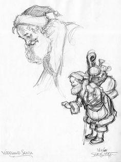 """HOLIDAY/SANTA - Drawings from """"Woodland Santa"""" - """"Woodland Santa - studies""""   Approx. image size: 7.5"""" x 9.5."""""""