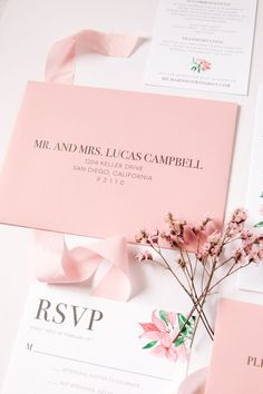 Pink Floral Bougainvillea Wedding Invitation | oh my! designs by steph