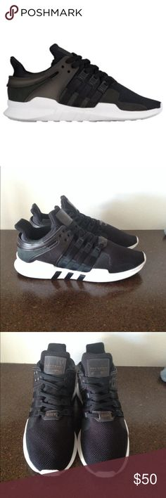 Adidas EQT Support Black and white adidas EQT support sneakers. Shoes are in good condition! Only worn a few times, but a couple of small scratches located on the tongue (pictured). Overall great looking shoes. Nike Shoes Sneakers
