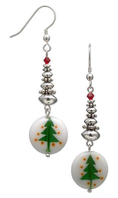 c23cb64c2 Glass and stereling silver Christmas Tree Earrings. #Christmasjewelry  #DIYjewelrymaking #holiday Christmas Tree