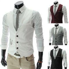 Amazon.com: New Men slim FIT waistcoat Vest Casual Business Waistcoat Vest tops (Asia L (US S), Black): Beauty