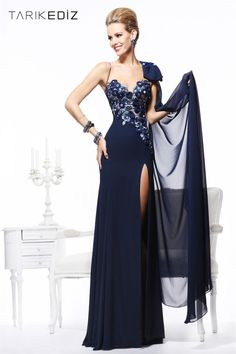 New Arrival Sheath Navy Blue Chiffon Flowers Floor Length Elegant Side Slit  Prom Gowns Dresses Evening Long 2014 TE 9210. Isabella Kate Ryan · Tarik  Ediz c94d85bc3768