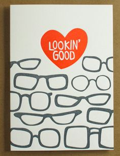 stationary, stationery, card, letterpress, print, glasses, flirt, cute, looking good, lookin good
