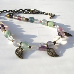 Fluorite and Quartz Boho Necklace with Bronze by adiencrafts, £14.95