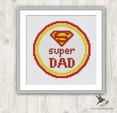 INSTANT DOWNLOAD Super Dad cross stitch pattern, Fathers Day gift, Father cross stitch pattern, Dad cross stitch pattern, present for dad, gift, needlecraft ----------------------------------------------------- Pattern: Fabric: 14 count Aida Stitches: 54*54 Designed area: Width: 9.80cm Height 9.80cm 4 DMC Color Use 2 strands of thread for cross stitch and 1 strand for back stitch 2 PDFs Included 1 x Pattern in Color Blocks 1 x Pattern in Color Symbols ------------------------------...