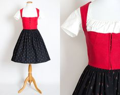 "Vintage 50s LANZ Austrian DIRNDL Dress SET w/ Blouse | 1950s Red Black Berry Print Cotton Full Skirt Oktoberfest Folk Dress (s 26"" waist)"