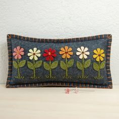 Daisy Garden Pincushion / Small Pillow - Hand Embroidered on Grey Wool Felt by TheBlueDaisy