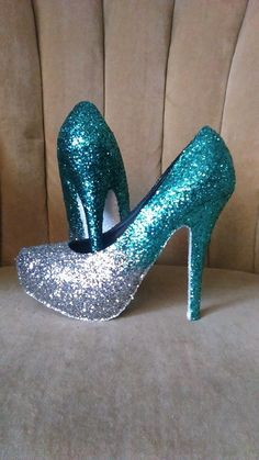 Glitter high heels. Mint silver and white by GlamAndGloryLab