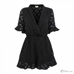black sheer embossed frill playsuit front