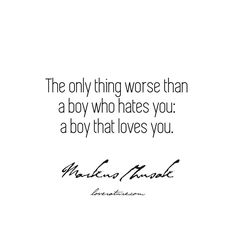 """The only thing worse than a boy who hates you: a boy that loves you."" – The Book Thief by Markus Zusak Literary Love Quotes, Markus Zusak, The Book Thief, That's Love, Boys Who, Hate, Instagram Posts, Books, Libros"