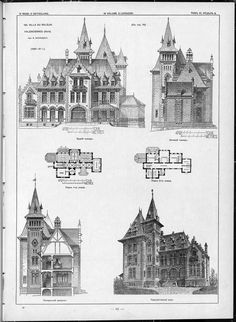 Villas, cottages and country houses / drawings of architectural monuments, buildings and objects - a visual history of architecture and styles (1000×1367)