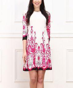 Another great find on #zulily! White & Pink Arabesque Shift Dress #zulilyfinds