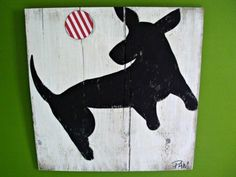 Dog Art on Wood Sign - Distressed - 2 Feet Square $150.00