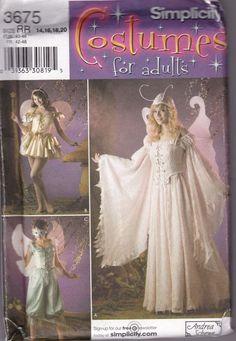 Simplicity 3675 Pattern Misses Fairy Sprite Fantasy Costume Wings 14 - 20 Uncut  #Simplicity