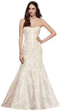 9c54521afea David s Bridal Oleg Cassini Satin Lace Strapless Wedding Dress Style  CWG594