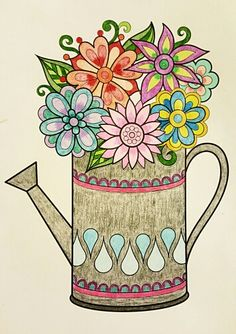 Watering Can Vase From Dont Worry Be Happy By Thaneeya McArdle Colored With Prismacolor