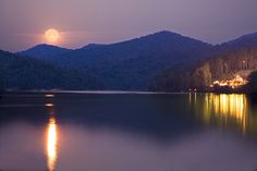 The Harvest Moon over Bear Lake Reserve in Western North Carolina.