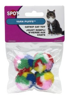 Ethical Kitty Yarn Puffs Cat Toys 4 Small Balls ** To view further for this item, visit the image link.