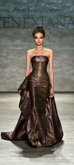 Venexiana ~ Mocha Brown Strapless Gown w Extended Train,  Mercedes-Benz Fashion Week Fall2015