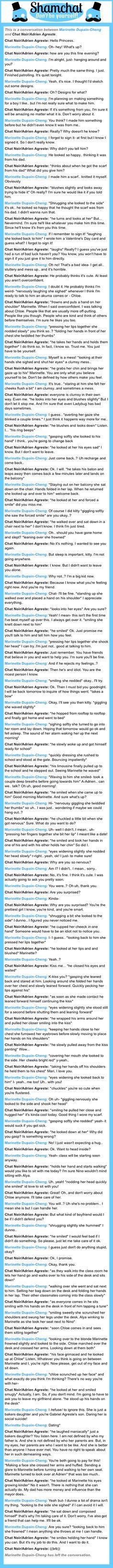 A conversation between Chat Noir/Adrien Agreste and Marinette Dupain-Cheng