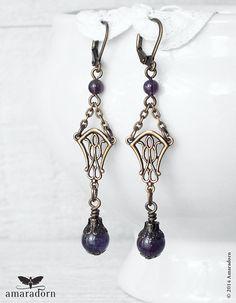 Mucha Inspired Art Nouveau Earrings Amethyst Earrings by Amaradorn