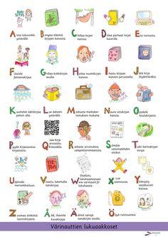 Värinautit -sivusto, Tulosta Värinauttien lukuaakkoset -juliste omalle seinällesi. Alphabet, Pictures, Reading, Photos, Alpha Bet, Photo Illustration, Word Reading, Reading Books, Drawings
