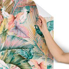 Pink Sunset In The Jungle Wallpaper Marta Barragan Camarasa Tropical Wallpaper, Sunset Wallpaper, Pink Jungle Wallpaper, Bathroom Wallpaper, Wall Wallpaper, Bathroom Remodel Cost, Bathroom Renovations, Jungle Bedroom, Mold In Bathroom