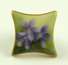Vintage / Antique Porcelain Square Stud Button...Lavender...Hand Painted