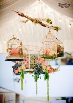 Ideas For Hanging Bird Cage Decor Flower Hanging Bird Cage, Bird Cages, Gala Dinner, Bird Nest Craft, Bird Theme, Vintage Birds, Event Decor, Floral Arrangements, Flower Arrangement